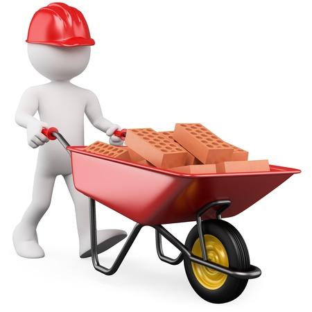 constructeur: Travailleur 3D poussant une brouette avec des briques. Rendus � haute r�solution sur un fond blanc avec des ombres diffuses.