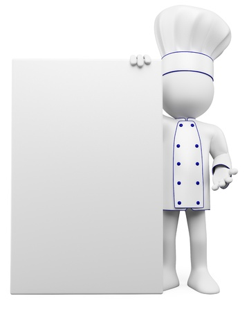 man holding a blank sign: 3D cook with a blank poster. Rendered at high resolution on a white background with diffuse shadows.