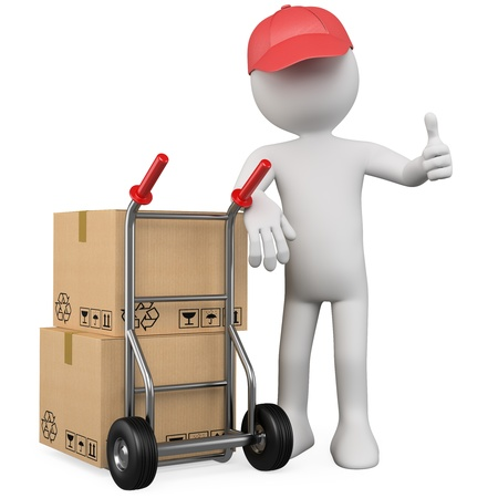 deliver: 3D worker with a package and thumb up. Rendered at high resolution on a white background with diffuse shadows. Stock Photo