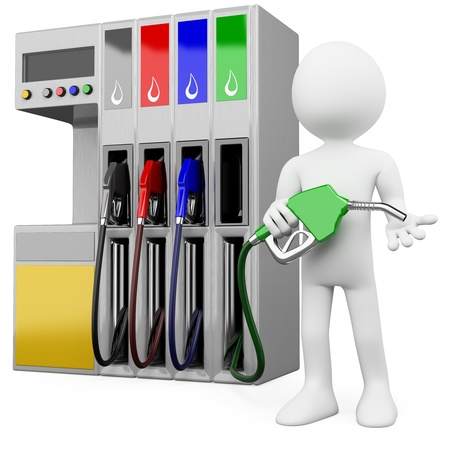 3D worker at a gas station with a petrol pump. Rendered at high resolution on a white background with diffuse shadows.