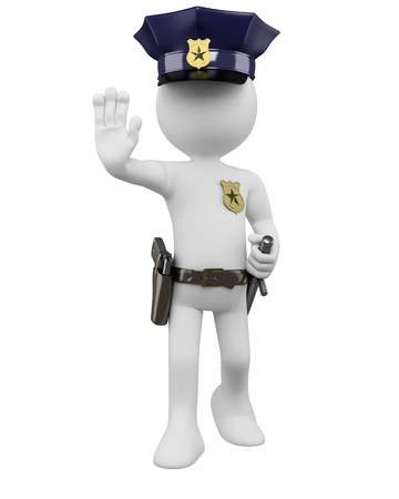 3D police with gun and nightstick ordering to stop. Rendered at high resolution on a white background with diffuse shadows. Stockfoto