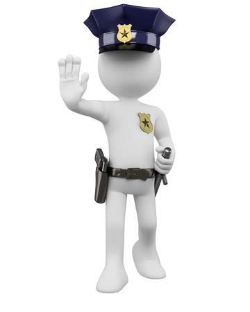 seguridad laboral: Policía 3D con pistola y porra de pedido para detener. Dictada en alta resolución en un fondo blanco con sombras difusas.