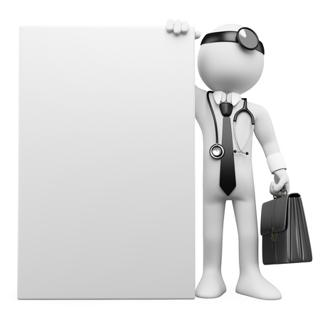 man and banner: 3D family doctor with a blank poster. Rendered at high resolution on a white background with diffuse shadows.