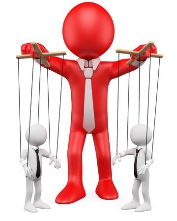 marioneta: Hombre de negocios en 3D el manejo de sus empleados como marionetas. Dictada en alta resolución en un fondo blanco con sombras difusas.