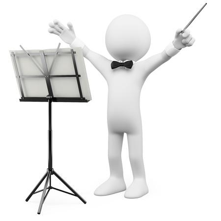 leiterin: 3D-Dirigent f�hrte das Orchester. �bertragen in hoher Aufl�sung auf einem wei�en Hintergrund mit diffuser Schatten.