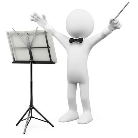 orquesta clasica: Conductor de 3D llevando a la orquesta. Dictada en alta resolución en un fondo blanco con sombras difusas.