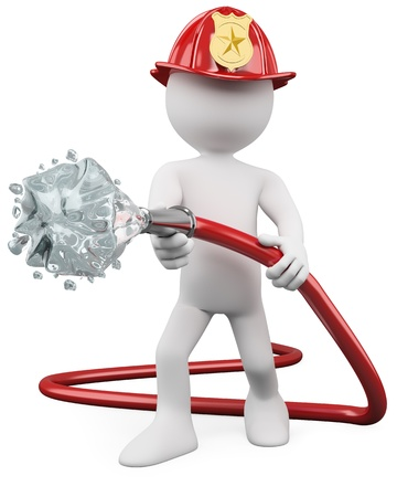 water hoses: 3D fireman putting out a fire. Rendered at high resolution on a white background with diffuse shadows.