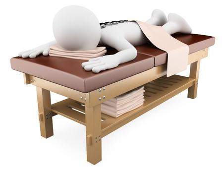 terapias alternativas: La mujer en 3D de recibir el masaje con piedras calientes. Dictada en alta resoluci�n en un fondo blanco con sombras difusas.