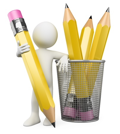 holder: 3D Man leaning on pencil holder  Rendered at high resolution on a white background with diffuse shadows