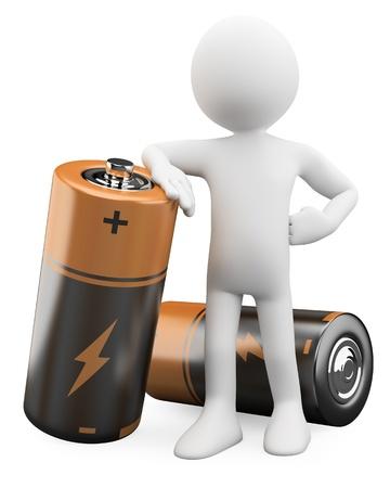 pila: El hombre 3D apoyado en una batería de Dictada en alta resolución en un fondo blanco con sombras difusas