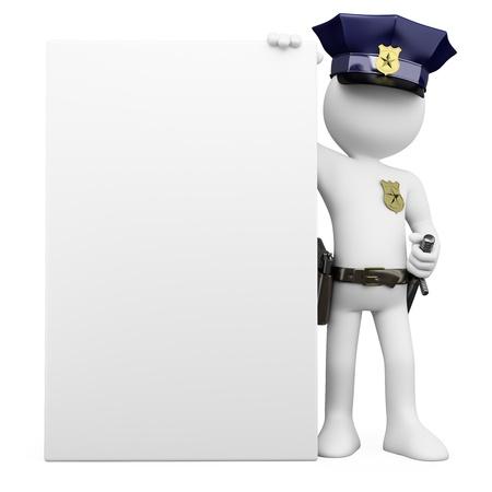 拡散影と白い背景の上の高解像度で空白ポスター レンダリングと 3 D の警察