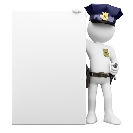 3D Police with a blank poster  Rendered at high resolution on a white background with diffuse shadows  Stock Photo