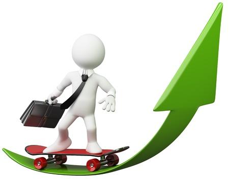 ascending: 3D de negocios - La flecha verde Dictada en alta resoluci�n en un fondo blanco con sombras difusas
