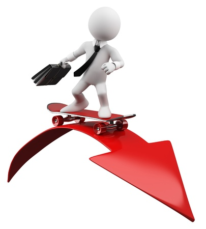 3D Businessman - Red arrow Rendered at high resolution on a white background with diffuse shadows