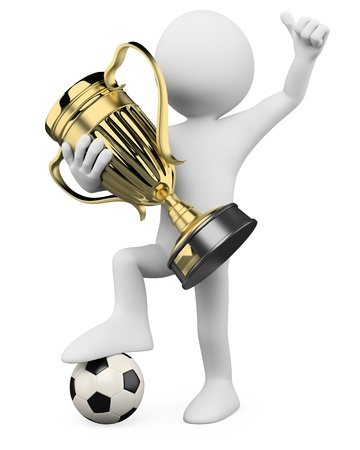 trophy winner: 3D Football player - World champion  Rendered at high resolution on a white background with diffuse shadows