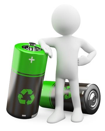 bateria: El hombre 3D - las baterías reciclables prestados en alta resolución en un fondo blanco con sombras difusas Foto de archivo