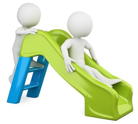 3D kinderen - Slide Gesmolten met een hoge resolutie op een witte achtergrond met diffuse schaduwen Stockfoto
