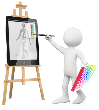 drawing large: 3D Artist - Artist painting in a tablet pc. Rendered at high resolution on a white background with diffuse shadows.