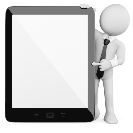 3D Businessman - Tablet. Rendered at high resolution on a white background with diffuse shadows. Stock Photo - 13322890