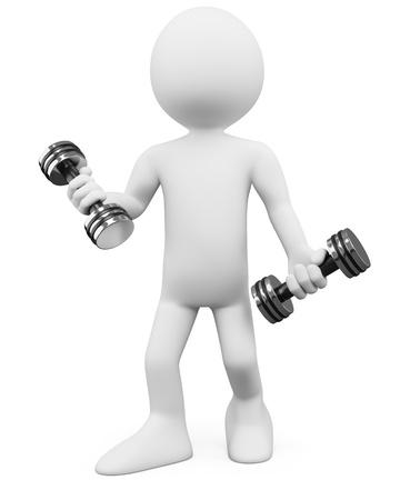 levantar pesas: 3D hombre - Fitness. Dictada en alta resolución en un fondo blanco con sombras difusas. Foto de archivo