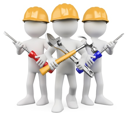 mantenimiento: Trabajadores en 3D - equipo de trabajo. Dictada en alta resoluci�n en un fondo blanco con sombras difusas.