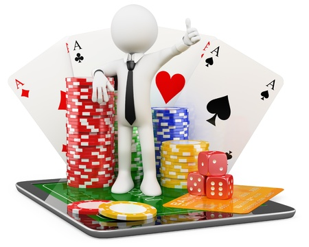 3D Man - Casino online games. Rendered at high resolution on a white background with diffuse shadows. photo