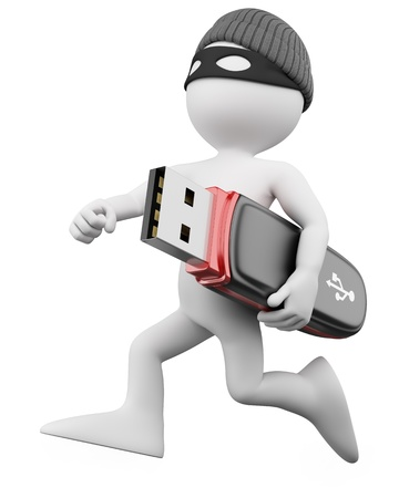 hacker: 3D Thief - Hacker. Rendered at high resolution on a white background with diffuse shadows. Stock Photo