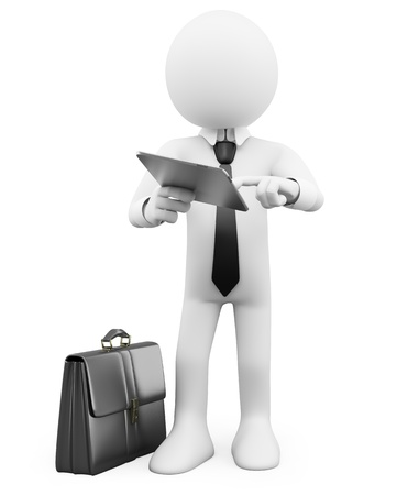 3D Businessman - Working with a tablet. Rendered at high resolution on a white background with diffuse shadows. Stock Photo