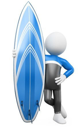 surf board: 3D Surfer - Posing with surfboard  Rendered at high resolution on a white background with diffuse shadows  Stock Photo