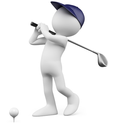 golf: 3D Golfer - Teeing off golf ball  Rendered at high resolution on a white background with diffuse shadows  Stock Photo