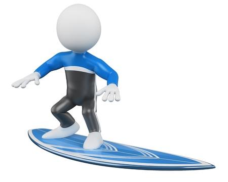 surfeur: Surfer en 3D - Rendus surf à haute résolution sur un fond blanc avec des ombres diffuses Banque d'images