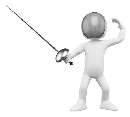 esgrimista: 3D Fencer - Esgrima Dictada en alta resoluci�n en un fondo blanco con sombras difusas