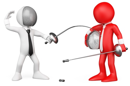 duel: 3D Business metaphor - Fercers. Rendered at high resolution on a white background with diffuse shadows.