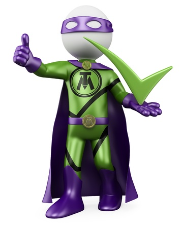 3D Superhero - Tick man. Rendered at high resolution on a white background with diffuse shadows. photo