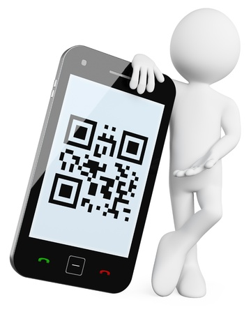 qr: 3D Man - Mobile QR codes. Rendered at high resolution on a white background with diffuse shadows.