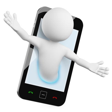3 D の男 - モバイル ビデオ通話。拡散影と白い背景の上の高解像度でレンダリングされます。