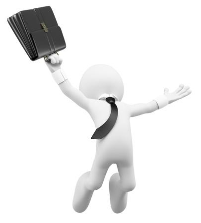 서류 가방을 사용하여 성공을위한 3 차원 흰색 비즈니스 사람이 행복 점프입니다. 3D 이미지. 격리 된 흰색 배경.