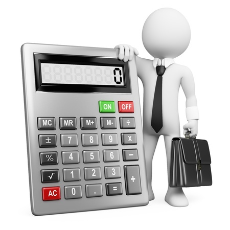 calculations: 3d white business person with a calculator and a briefcase. 3d image. Isolated white background.