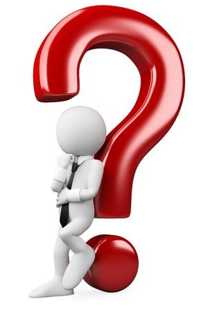 3 ª persona reflexivo blanco apoyado en una pregunta teniendo en cuenta los desafíos. Imagen en 3d. Aislado fondo blanco.