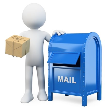 paper delivery person: 3d white person sending a package in a mail box. 3d image. Isolated white background.