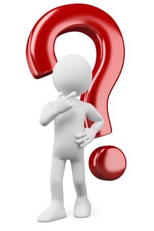 doute: 3d pens�e personne de race blanche et douteux avec un point d'interrogation. Image 3d. Isol� sur fond blanc.