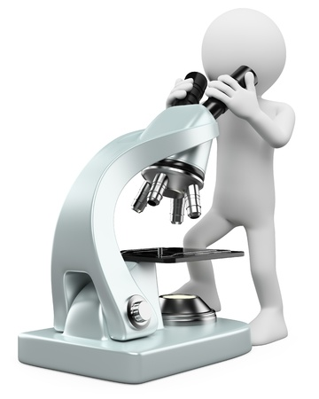 microbiology: 3 � persona blanca mirando por un microscopio. Imagen en 3d. Aislado fondo blanco.
