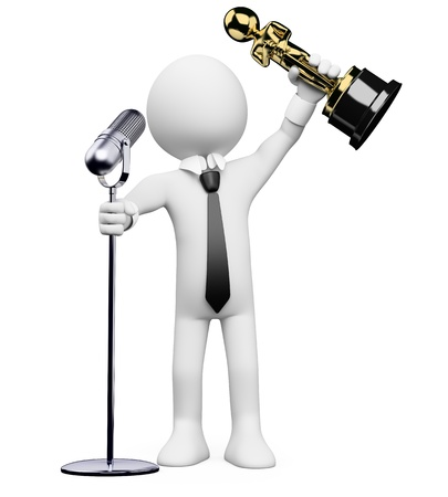 statuette: 3d white person receiving an award at the Oscar ceremony with a microphone. 3d image. Isolated white background.