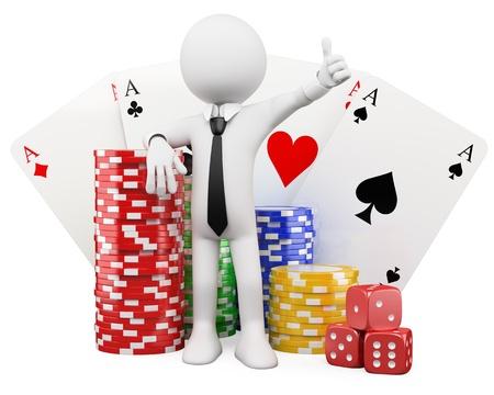 fichas casino: 3 � persona blanca con fichas de casino, tarjetas y dados. Imagen en 3d. Aislado fondo blanco. Foto de archivo