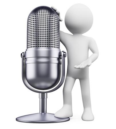 microfono antiguo: 3 � persona blanco apoyado en un micr�fono de la vendimia. Imagen en 3d. Aislado fondo blanco.