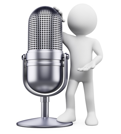 old microphone: 3d white person leaning on a vintage microphone. 3d image. Isolated white background.