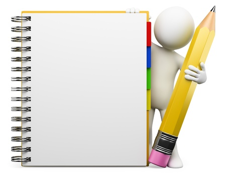 notepad background: 3d white person with blank spiral notepad and a pencil. 3d image. Isolated white background.