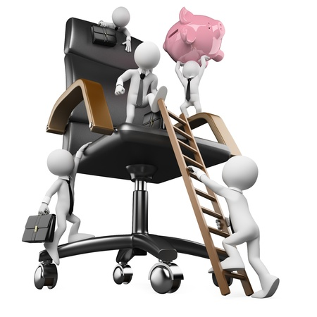 metaphor: 3d white person trying to climp in business. Business metaphor. 3d image. Isolated white background. Stock Photo