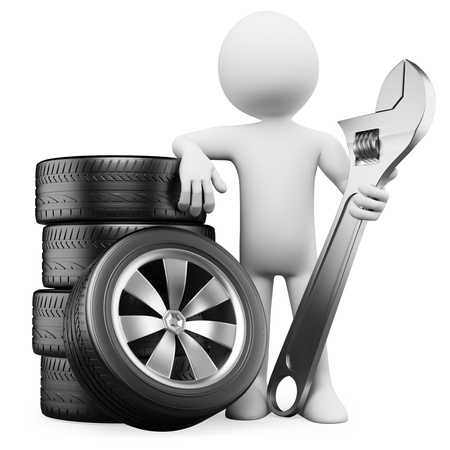 spanners: 3d white person with tires and a wrench. 3d image. Isolated white background.