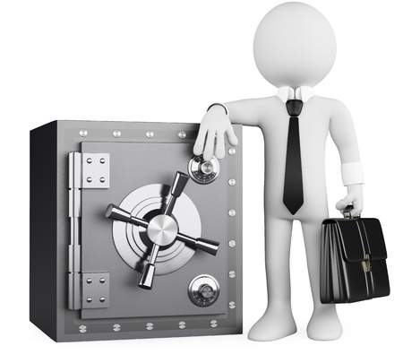 3d white business person with a briefcase leaning on a safe. 3d image. Isolated white background.  Stock Photo
